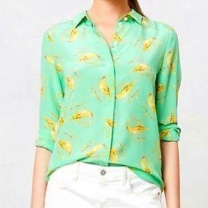 Anthropologie leifsdottir silk seaside bird shirt